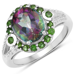 3.92 Carat Genuine Rainbow and Chrome Diopside .925 Sterling Silver Ring