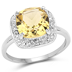 2.77 Carat Genuine Champagne Quartz & White Topaz .925 Sterling Silver Ring
