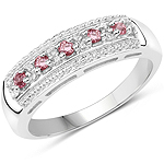 0.30 Carat Genuine Pink Tourmaline & White Topaz .925 Sterling Silver Ring
