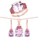 """18K Rose Gold Plated 16.35 Carat Genuine Pink Amethyst and Rhodolite .925 Sterling Silver 3 Piece Jewelry Set (Ring, Earrings, and Pendant w/ Chain)"""