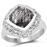3.40 Carat Genuine Black Rutile .925 Sterling Silver Ring