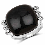 14.04 Carat Genuine Black Onyx and White Topaz .925 Sterling Silver Ring