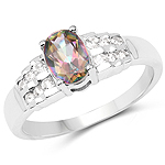 1.19 Carat Genuine Mystic Topaz & White Topaz .925 Sterling Silver Ring