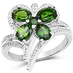 1.60 Carat Genuine Chrome Diopside .925 Sterling Silver Ring