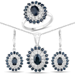 7.07 Carat Genuine Blue Sapphire and White Topaz .925 Sterling Silver 3 Piece Jewelry Set (Ring, Earrings, and Pendant w/ Chain)