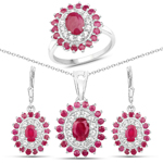 """7.30 Carat Genuine Ruby and White Topaz .925 Sterling Silver 3 Piece Jewelry Set (Ring, Earrings, and Pendant w/ Chain)"""
