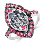 1.77 Carat Genuine Blue Sapphire and Ruby .925 Sterling Silver Ring