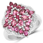 2.81 Carat Genuine Rhodolite .925 Sterling Silver Ring