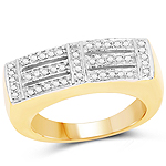 14K Yellow Gold Plated 0.25 Carat Genuine White Diamond .925 Sterling Silver Ring
