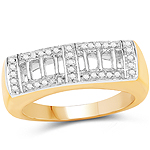 14K Yellow Gold Plated 0.19 Carat Genuine White Diamond .925 Sterling Silver Ring
