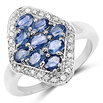 2.12 Carat Genuine Blue Sapphire and White Zircon .925 Sterling Silver Ring