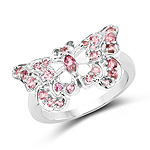 0.83 Carat Genuine Pink Tourmaline .925 Sterling Silver Ring