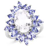 5.88 Carat Genuine Crystal Quartz and Tanzanite .925 Sterling Silver Ring