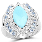 2.58 Carat Genuine Turquoise and Aquamarine .925 Sterling Silver Ring