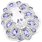 6.09 Carat Genuine Crystal Quartz and Tanzanite .925 Sterling Silver Ring