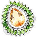 7.02 Carat Genuine Citrine & Chrome Diopside .925 Sterling Silver Ring