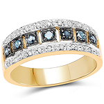 14K Yellow Gold Plated 0.27 Carat Genuine Blue Diamond and White Diamond .925 Sterling Silver Ring