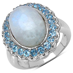 11.90 ct. t.w. White Rainbow Moonstone and Swiss Blue Topaz Ring in Sterling Silver
