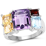 6.57 Carat Genuine Multi Stones .925 Sterling Silver Ring