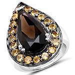 7.34 Carat Genuine Smoky Quartz and Citrine .925 Sterling Silver Ring