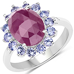 5.53 Carat Genuine Pink Sapphire and Tanzanite .925 Sterling Silver Ring