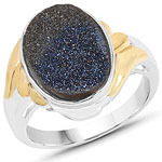 Two Tone Plated 4.15 Carat Genuine Blue Drusy .925 Sterling Silver Ring