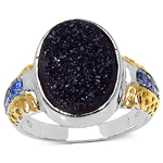 Two Tone Plated 4.46 Carat Brown Drusy Ring with 0.24 ct. t.w. Multi-Gems in Sterling Silver