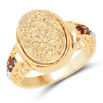14K Yellow Gold Plated 4.71 Carat Genuine Golden Drusy, Garnet and White Topaz .925 Sterling Silver Ring
