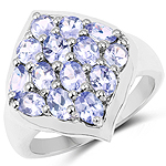 2.38 Carat Genuine Tanzanite .925 Sterling Silver Ring