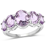 4.02 Carat Genuine Pink Amethyst .925 Sterling Silver Ring