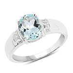 1.55 Carat Genuine Aquamarine and White Topaz .925 Sterling Silver Ring