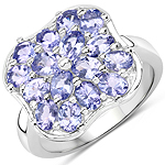 2.72 Carat Genuine Tanzanite .925 Sterling Silver Ring