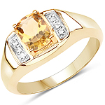 14K Yellow Gold Plated 1.36 Carat Genuine Citrine & White Topaz .925 Sterling Silver Ring