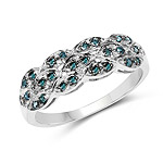 0.31 Carat Genuine Blue Diamond .925 Sterling Silver Ring