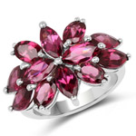 7.80 Carat Genuine Rhodolite .925 Sterling Silver Ring