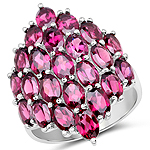11.50 Carat Genuine Rhodolite .925 Sterling Silver Ring