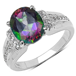 3.40 ct. t.w. Mystic Topaz and White Topaz Ring in Sterling Silver