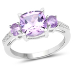 2.38 Carat Genuine Amethyst and White Topaz .925 Sterling Silver Ring
