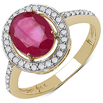 2.76 Carat Genuine Ruby & White Diamond 10K Yellow Gold Ring
