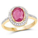 2.54 Carat Glass Filled Ruby and White Diamond 10K Yellow Gold Ring