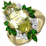 14K Yellow Gold Plated 6.47 Carat Genuine Lemon Topaz, Chrome Diopside & White Diamond .925 Sterling Silver Ring