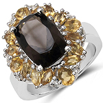 5.39 Carat Genuine Smoky Topaz, Citrine & White Topaz .925 Sterling Silver Ring
