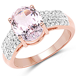14K Rose Gold Plated 3.27 Carat Genuine Kunzite Oval and White Zircon .925 Sterling Silver Ring Ring
