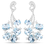6.81 Carat Genuine Blue Topaz and White Topaz .925 Sterling Silver Earrings