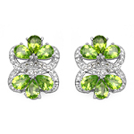 8.77 Carat Genuine Peridot & White Topaz .925 Sterling Silver Earrings