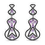 5.30 Carat Genuine Amethyst and Black Spinel .925 Sterling Silver Earrings