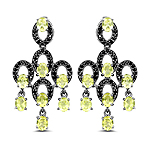 7.13 Carat Genuine Black Spinel & Peridot .925 Sterling Silver Earrings