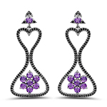 6.31 Carat Genuine Amethyst & Black Spinel .925 Sterling Silver Earrings