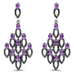 6.00 Carat Genuine Amethyst and Black Spinel .925 Sterling Silver Earrings