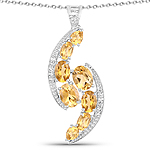 5.43 Carat Genuine Citrine and White Topaz .925 Sterling Silver Pendant